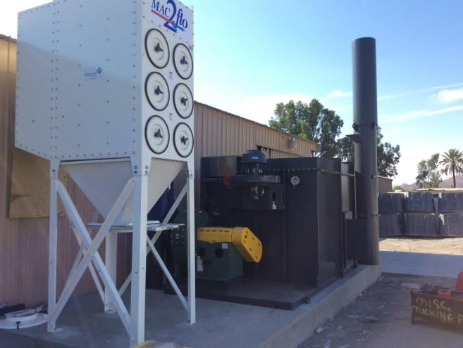 ALLIANCE DELIVERED AND INSTALLED A 2 CHAMBER 3,300 SCFM BOXIDIZER™ MODEL 203 RTO WITH AN UPSTREAM PULSE JET DUST COLLECTOR SYSTEM AT AN UNDERGROUND UTILITY BOX MANUFACTURING FACILITY IN SOUTHERN CALIFORNIA.